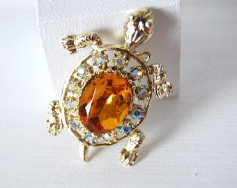 Amber and Rhinestone Tortoise  Brooch Vintage