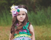 The Emerald City Vintage Inspired headband made to match London Raquel's multi color romper.