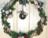 Price Reduced...Elegant Silver and White 18 inch Grapevine Wreath