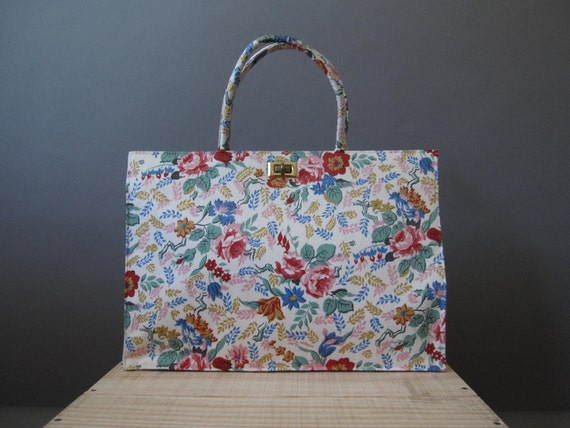 RUMMAGE SALE vintage 1950s margaret smith colorful floral handbag (was 42.00)