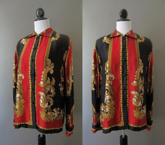 vintage 1980s red black and gold silk blouse with italian pattern