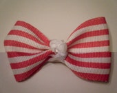 """Pink and White Striped Bow Barrettes - set of two - """"The Laney"""""""