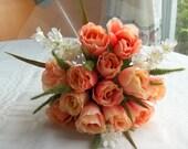 Wedding bouquet bride,maid of honor,bridesmaid , throw away keepsake peach rose