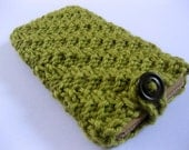 Handknit lime green textured soft iPhone cozy with button