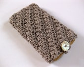 Handknit grey textured iPhone cozy with shell button