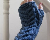 Blue cabled fingerless mittens in a cashmere merino wool blend