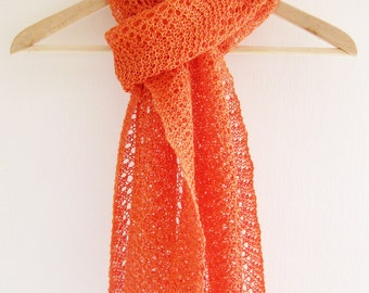 Hand knit linen scarf / shawl in orange lace