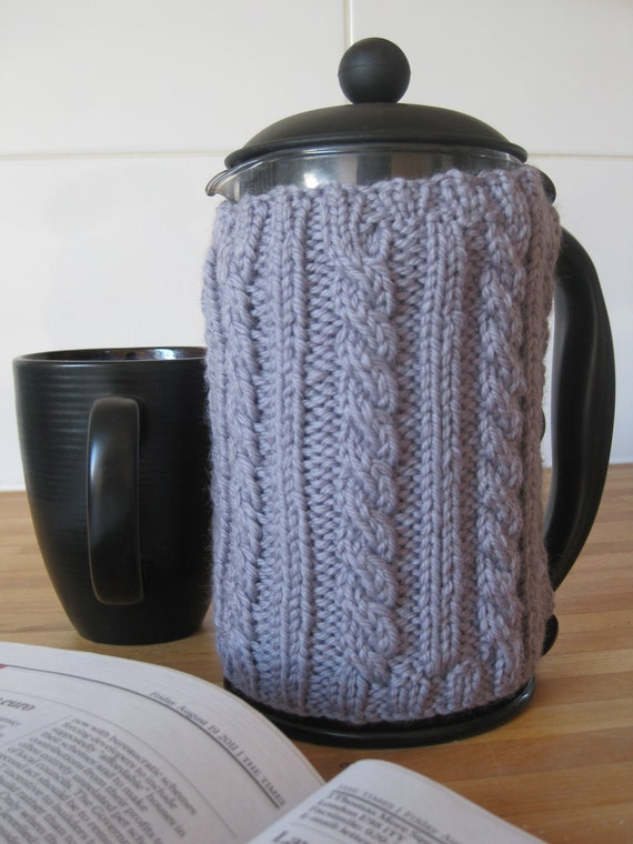 Hand knit cable rib grey wool cosy for a cafetiere or french press