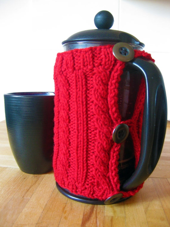Handknit red cable rib wool cosy for a cafetiere / french press
