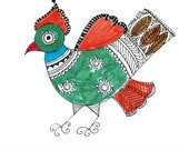 Set of 4 blank greeting cards with Ethnic Bird Design