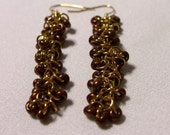 Brown and Gold Dangle Earrings