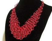 Red Chainmaille Choker / Adjustable Goth Necklace