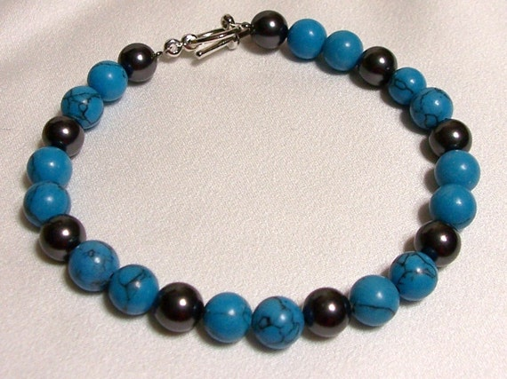 Turquoise and Black Pearl Bracelet