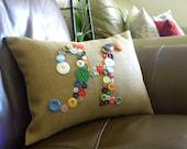 Button Monogram Pillow - Taupe Burlap