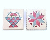 2  Vintage Quilt Block Hand Painted Magnets