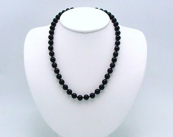 Vintage Monet Black Glass Bead Choker