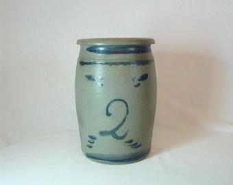 Antique 2 Gallon Stoneware Crock with Primitive Cobalt Design