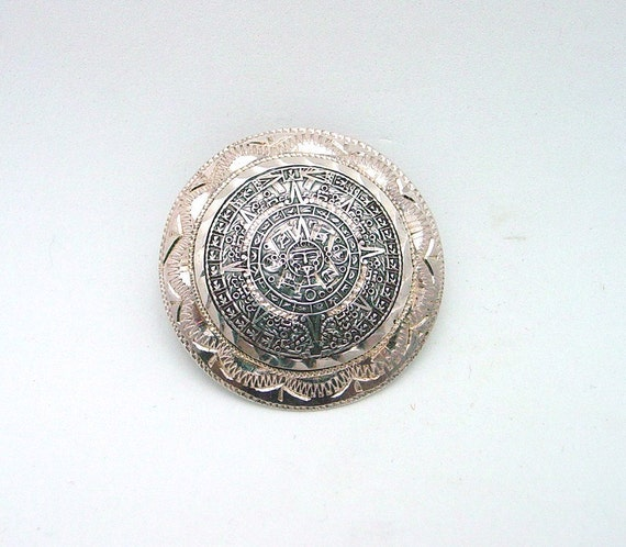 Vintage Mexican Sterling Silver Brooch / Pendant