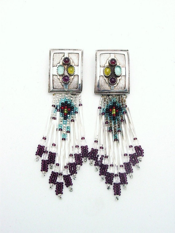 Sterling Silver Post Earrings with Beading