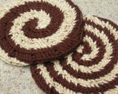 Hot Chocolate & Oatmeal Cookie Inspired Swirl Coasters Crocheted Cotton
