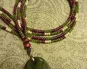 Long Beaded Green Stone Pendant Necklace