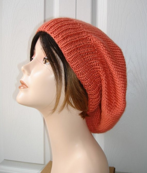 Boho Beanie Hat in Persimmon
