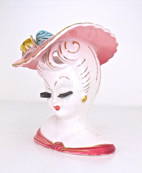 Lady Head Vase in Pink  Hat with Flowers