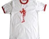 THE BOXER  White Red Ringer T Shirt