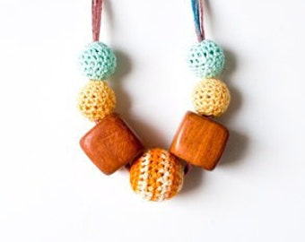 SALE 30%-Wooden and Crochet Necklace-Mother's day
