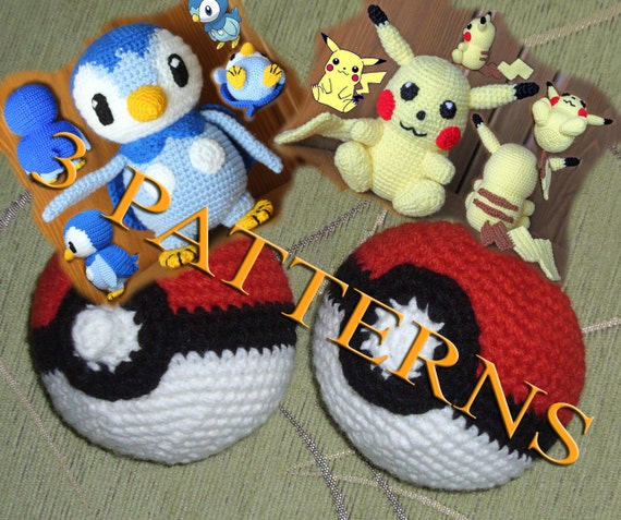 3 chrochet patterns - Pokemon Piplup, Pokemon Pikachu and Pokeball