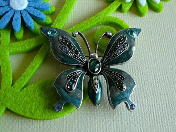 SALE FURTHER REDUCED- Spring Enameled and Rhinestone Butterfly Brooch in Green Blue Teal Aurora Borealis