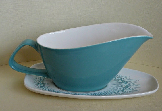 1960s Mod Funky and Psychedelic Poole Gravy Boat and Plate Blue Turquoise White Mid Century