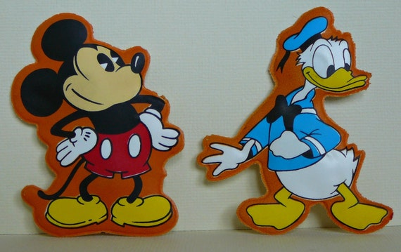 SALE- Set of 4 1970s Disney Characters Padded Plastic Vinyl Magnets- Mickey Donald Duck Pluto and Goofy