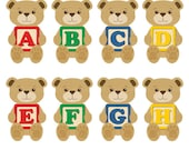 A-Z  Teddy Bears Digital Clipart (26 PNG files)