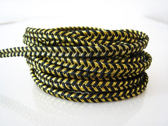 2 Yards of Metallic Gold and Black Striped String Braided Trim Rope Cord ( 5mm Width )