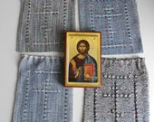Handwoven Dradwstring Bag with Lace Woven Orthodox Cross Choose One