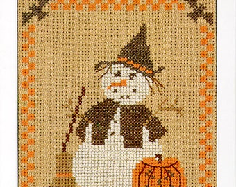 Homespun Collectibles Counted Cross Stitch Witch Snowman Pattern Number 15