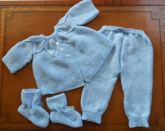 Knit Leaf Pattern Baby Sweater : Beautiful Hand Knit Blue Baby Set Cardigan by straphaelwomen