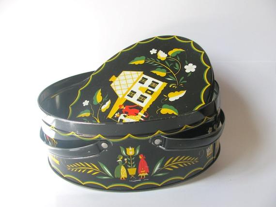 Vintage Pennsylvania Dutch Tin for Sewing or Storage