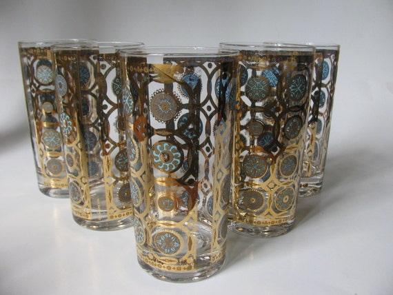 Vintage Culver Glass Highballs in Blue and Gold