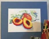 Nectarine Still Life Colored Pencil