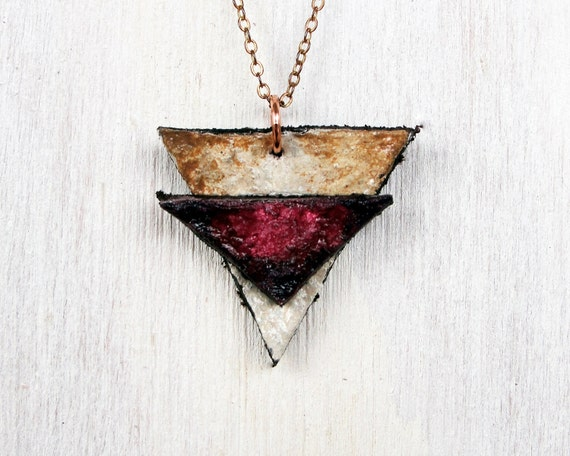 Hand painted leather necklace. Burgundy, wine, and tea stained. Rustic.