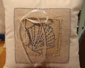 Rustic Beach Wedding Ring Pillow- Canvas with Burlap and  Shell Hand Embroidery