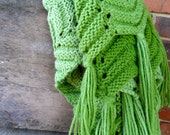 Vintage Crochet  Throw Blanket in Shades of Green