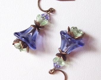 Tanzanite Purple and Brass Bellflower Earrings