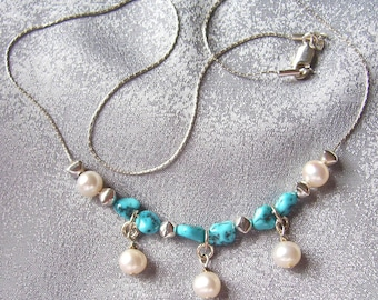 Arizona Turquoise. Pearl and Sterling Silver Necklace