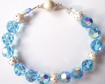 Aqua Swarovski Crystal and Sterling Silver Bracelet