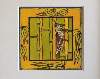 "Craftsman ""Grasshopper on Bamboo"" Original Linocut"