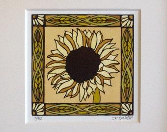 "Craftsman ""Sunflower"" Original Linocut"