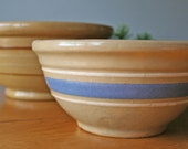 Reserved Listing - Small Antique Yelloware Blue and White Banded Stoneware Bowl